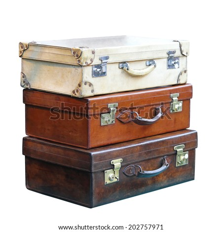 Three vitage leather suitcases  isolated included clipping path - stock photo