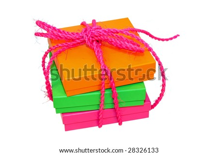 Three vivid color boxes with rope isolated