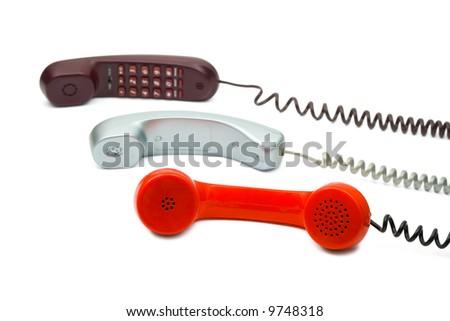 Three waiting phone, isolated on white background - stock photo