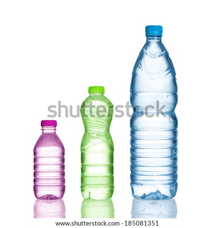 three water bottles isolated on white - stock photo