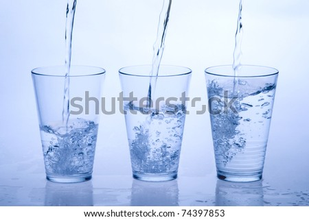 three water glass - stock photo