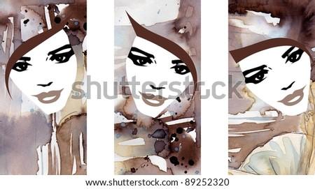 three watercolor portraits of avant garde women avant garde