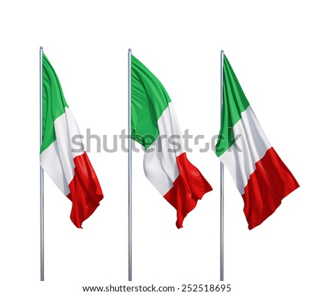 three waving flags of Italy on a white background