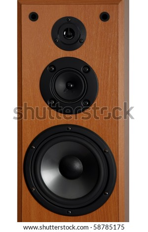 Three way audio speaker system in a wooden cabinet - stock photo