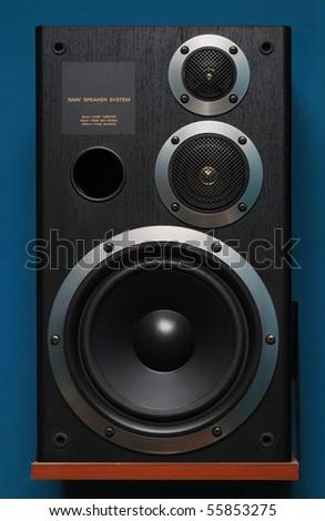Three way black audio speaker - stock photo