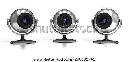 Three Web Cameras Isolated on White Background  - stock photo