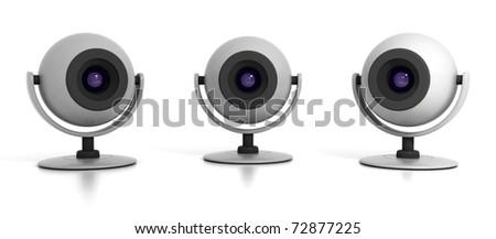Three Web Cameras Isolated on White Background - stock photo