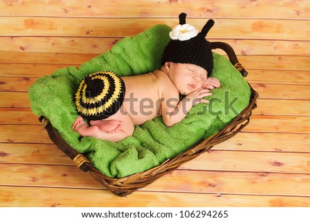 Three (3) week old newborn baby girl wearing a crocheted black and yellow bumblebee costume. The infant is sleeping on a green blanket inside of a basket. - stock photo