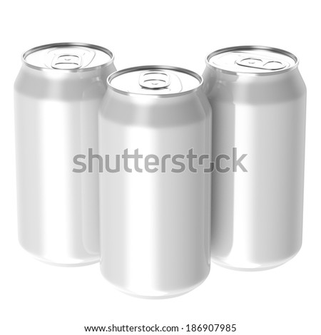 Three white beverage drink cans, Isolated on white background, 3d Rendered. - stock photo