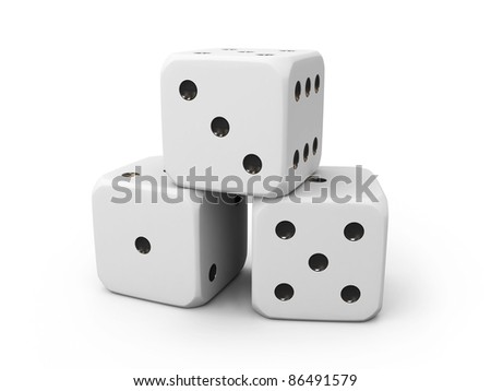 Three white casino dice isolated on white background - stock photo