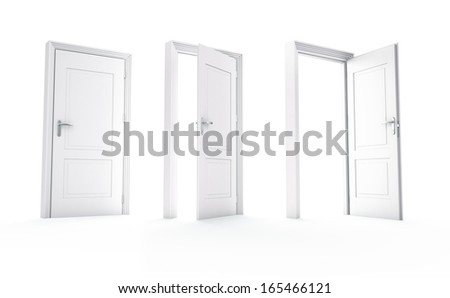Three white doors, Isolated on white - stock photo