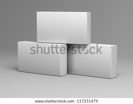 three white empty box template for medical drugs without texture on gray background for design - stock photo