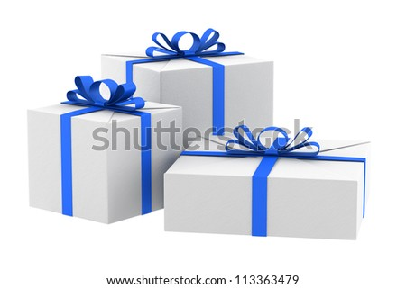 three white gift boxes with blue ribbons and bows isolated on white - stock photo