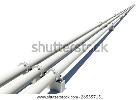 Three white industrial pipes stretching into distance. Isolated on white background - stock photo