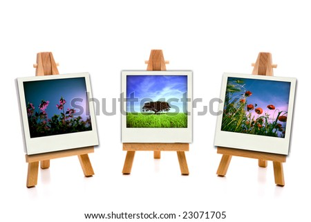 three white painting canvas holding spring photos - stock photo