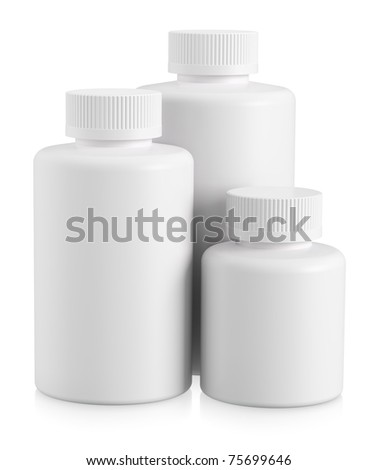 Three white plastic bottles with copy space on white background - stock photo