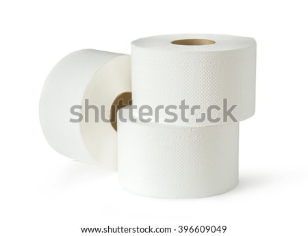 Three white toilet paper rolls in closeup