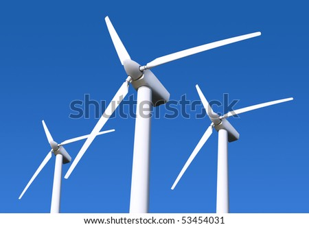 Three white wind turbine generating electricity on blue sky - stock photo