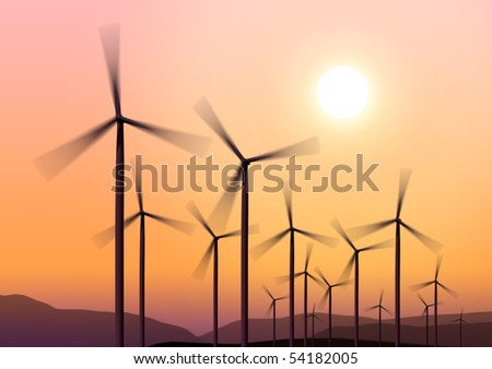 Three white wind turbine generating electricity on blue sky