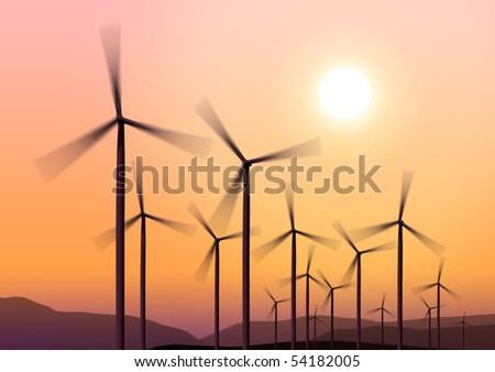 Three white wind turbine generating electricity on blue sky - stock photo