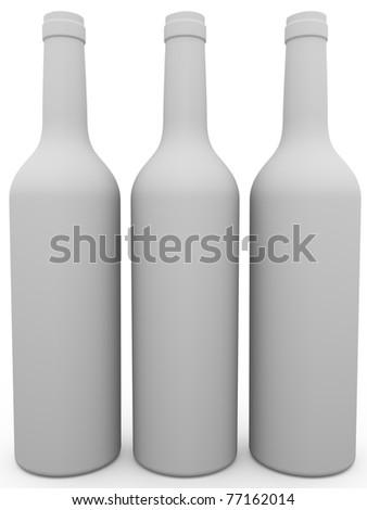 Three white wine bottles. 3d render. Illustration - stock photo