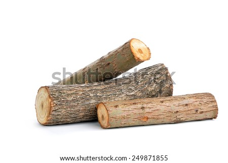 three willow logs isolated over white background - stock photo