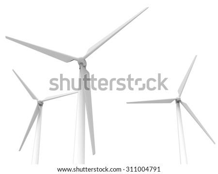 three wind turbines  - stock photo