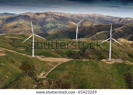 Three wind turbines near Wellington, New Zealand - stock photo