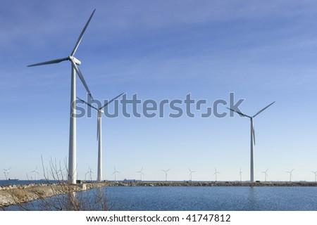 Three Windmills in Copenhagen Denmark - stock photo