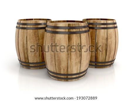 three wine barrels on white background. 3d illustration - stock photo