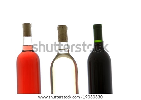 Three wine bottle red, white and rose in a row