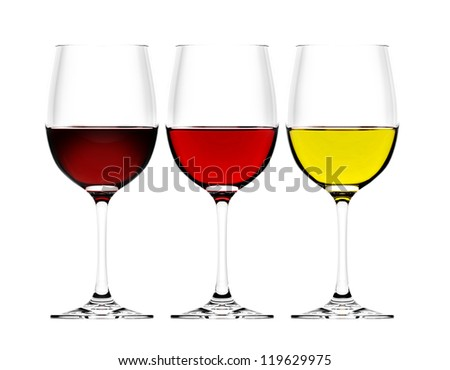 three wine glasses in backlight on white background - stock photo
