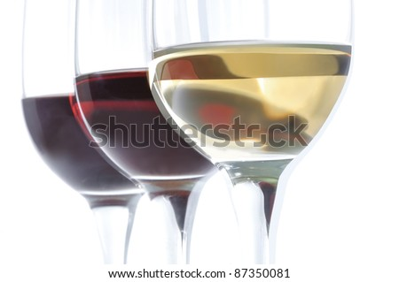 three wine glasses isolated on white background