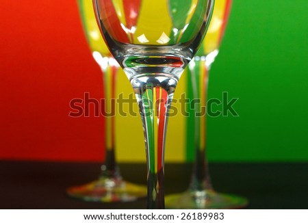 three wineglass in color background