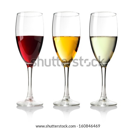 Three Wineglass with white wine.on wite background.  - stock photo