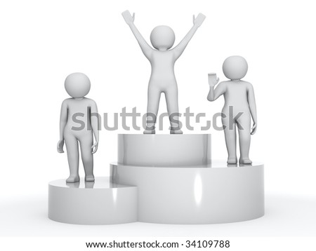 three winners on the podium over white background