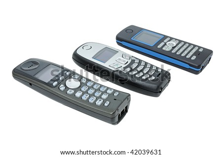 Three wireless phones with LCD, standard DECT.