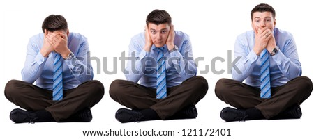 Three wise businessman that they did not hear, speak and see. - stock photo