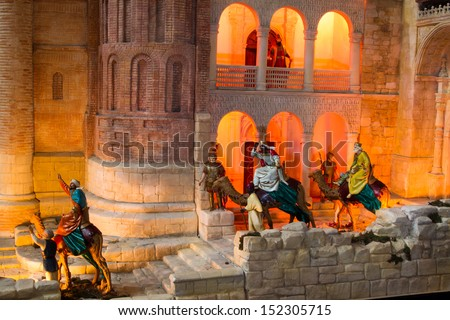 Three wise man with king Herod - stock photo