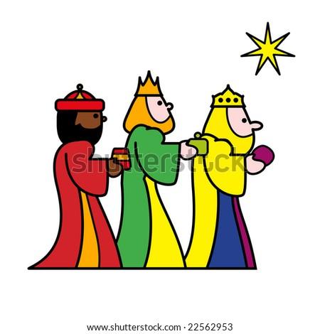 three wise men bearing gifts - stock photo