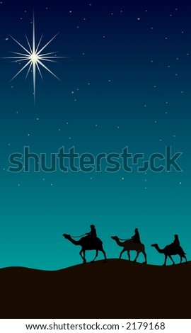 Three wise men following star