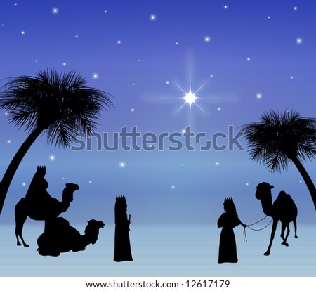 three wise men looking at star - stock photo