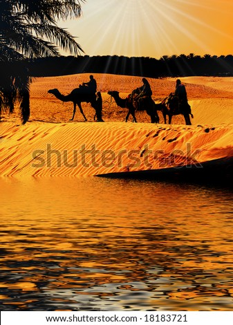 Three wise Men on Camel back reach Oasis as the Sun sets with Star shinning brightly above - stock photo