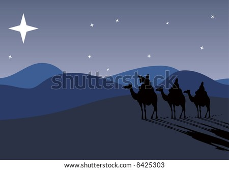 Three wise-men traveling to Bethlehem, following the star - stock photo