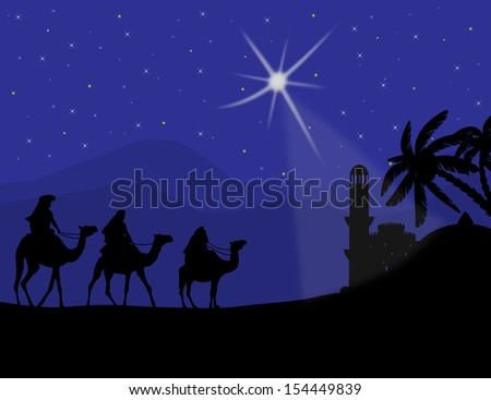 Three wise men with camels and a shining star of Bethlehem, background illustration.