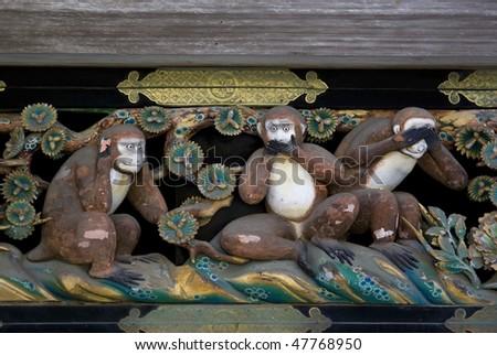 Three wise monkey, detail of the seventeenth century Toshogu shrine in Nikko, Japan - stock photo