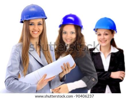 Three women architect team. Isolated on a white background. - stock photo