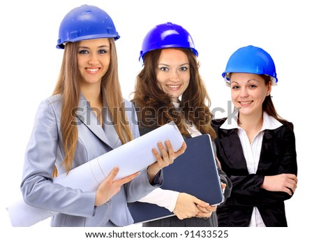 Three women architect team. Isolated on a white background.