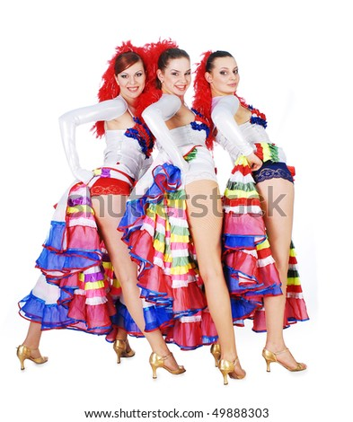 Three women dancing the cancan - stock photo
