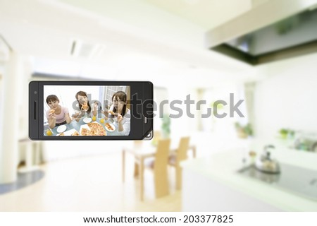 Three Women Eating At Home In Mobile Screen
